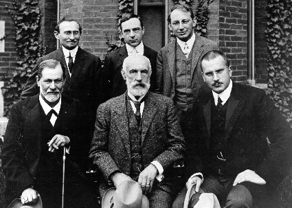 Clark University Conference, 1909. Sigmund Freud, G. Stanley Hall, Carl G. Jung, A. A. Brill and Sandor Ferenczi.