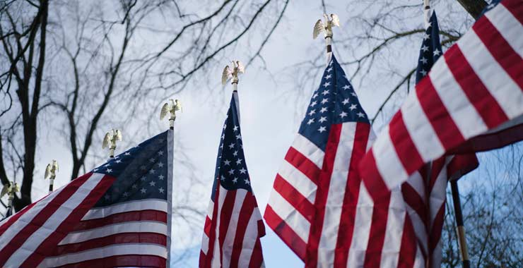 A row of American flags