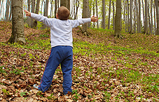 Little boy standing in the woods