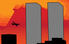 Illustration of a plane going towards the twin towers