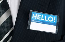 "A ""Hello! My name is"" sticker"