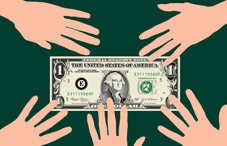 Hands reaching for a one dollar bill