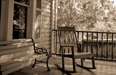Rocking chair sitting on a porch