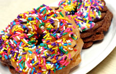 Sprinkled covered doughnuts