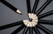 Pencils in a circle meeting at the tip