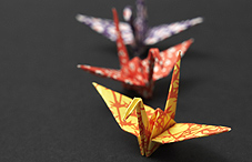 Three oragami birds