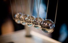 "Silver ball ""Newton's cradle"""