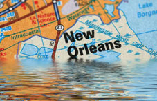 New Orleans map in water