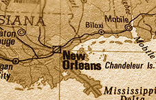 Sepia-toned map of New Orleans
