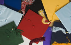 Various colored graduation caps