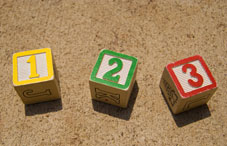Baby blocks with 1,2,3