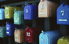 A variety of color mailboxes
