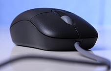 Closeup of a computer mouse