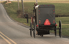 Amish buggy driving down the road