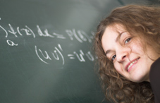 Young woman doing math