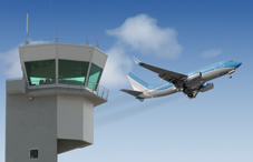 Airplane and control tower