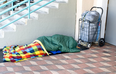 Homeless person sleeping