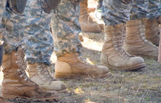 Closeup of soldier's boots