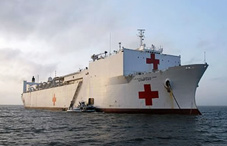 The USNS Comfort anchored off the coast of Puerto Barrios, Guatemala.