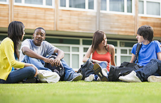 College students on lawn