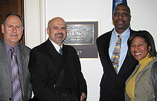 Dr. Eugene Farber, Bob Bongiovanni, MA, Leo Rennie, MPA, and Dr. Scyatta Wallace outside of Congressman Jose Serrano's Washington, D.C., office.