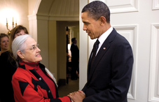 President Barack Obama greets Dr. Marigold Linton (Official White House photo by Pete Souza)