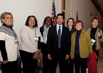 Left to right, Dr. Carol Schwartz; Dr. Tamara McKay; Josephine Johnson; Rep. Clarke; Dr. Melissa Grey; Dr. Judith Kovach; Dr. Kirstin Sheridan (credit: APA photo)