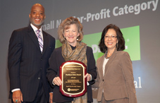 APA CEO Dr. Norman Anderson and APA President Dr. Melba J.T. Vasquez present a 2011 Psychologically Healthy Workplace Award to Connie Roy-Czyzowski (center) of Northeast Delta Dental of Concord, N.H. (credit: Tracey Brown)