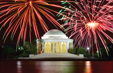 Fireworks over Jefferson Memorial