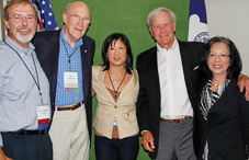 Supporters of the Heart Mountain Interpretive Learning Center celebrate its opening: From left to right: Heart Mountain board vice chair Douglas W. Nelson, former U.S. Senator Alan K. Simpson, APA's Shirley Ann Higuchi, JD, Tom Brokaw and APA President Dr. Melba J.T. Vasquez.
