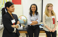 High school seniors Rabia Ahmad, Sina Gebre-ab and Kayla Alevizatos. (credit: Lloyd Wolf)