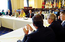 A meeting with members of the House Veterans Affairs Committee focused on innovative strategies for reducing suicide risk in military service members and veterans. From left to right: Rep. Tim Walz (D-Minn.), Rep. Michael Michaud (D-Maine), Rep. Ann Marie Buerkle (R-N.Y.), Rep. Phil Roe (R-Tenn.), Rep. Gus Bilirakis (R-Fla.), Dr. Janet Kemp, Dr. Craig Bryan, Dr. David A. Jobes and Dr. M. David Rudd. (credit: Lloyd Wolf)