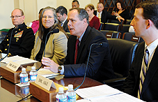 APA member Dr. M. David Rudd, center, testified before the House Veterans Affairs Subcommittee on Health on the need to help members of the military transition to civilian life. He is joined, from left to right, by Chaplain Dr. John Morris, Dr. Shelley MacDermid Wadsworth and APA member Dr. George Ake III