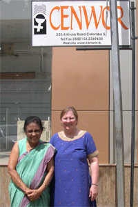 Bonnie Nastasi (right) with Asoka Jayasena during a visit to the Centre for Research on Women (CENWOR) office in Columbo