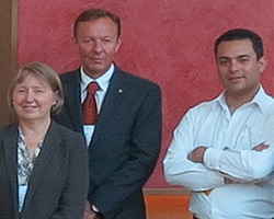 Carole Allan (UK), Ole Tunold (Norway), and Edwin Yair Oliveros Ariza (Colombia) after the Business Meeting