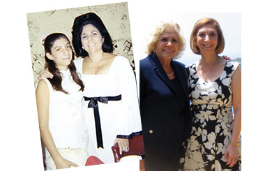 Dr. Nadine Kaslow (left) celebrated mother Dr. Florence Kaslow earning her doctorate from Bryn Mawr in 1969. At right, Florence fêted Nadine's honorary doctorate from Pepperdine University earlier this year.