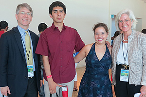 Stephen Behnke and Merry Bullock with students who presented posters at the Congress