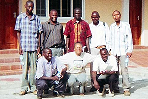 Dr. Floyd (front center) with Mt. Meru University divinity students and the Street Youth in Transition Project Coordinator, Spring 2012