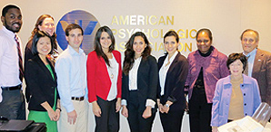 APA United Nations interns and representatives (left to right): Jarell Myers, Shuchang Kang, Dr. Susan Nolan, David Kerner, Ceren Sönmez, Sepideh Alavi, Dr. Farnaz Kaighobadi, Dr. Roseanne Flores, Dr. Janet Sigal and Dr. Neal Rubin. (Not pictured: Drs. Juneau Gary and Rashmi Jaipal. credit: Merry Bullock)
