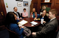 Washington Psychological Association members met with the staff of Rep. Jim McDermott (D-Wash.) to explain how unnecessary supervision requirements due to psychologists' exclusion from the physician definition hamper the provision of psychological services and increase costs for Medicare patients. From left to right: Dr. Cheryl Lamin, Dr. Doug Wear, Dr. Lucy Homans, Dr. Maile Bay and Dr. Samantha Slaughter.