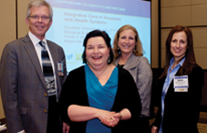 From left to right: Dr. Frank V. deGruy, of the University of Colorado School of Medicine, Dr. Robin Henderson, of the Central Oregon Health Council, Rebecca B. Chickey, of the American Hospital Association, and Dr. Elizabeth Winkelman, of APA's Practice Directorate.
