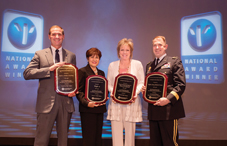 Four leaders accepted APA's 2013 Psychologically Healthy Workplace Awards at the State Leadership Conference. From left to right: Brian J. Bowers, for Bowers + Kubota Consulting; Iraida T. Ojeda, for Triple-S; Patricia Strusowski, for Christiana Care Health System's Cancer Care Management Department; and Brigadier General Brian Lein for Tripler Army Medical Center.