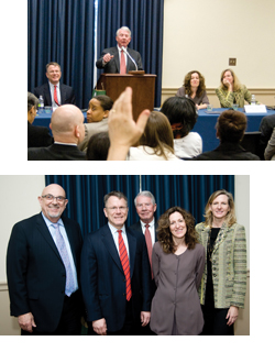 Top: Briefing moderator Charles O'Keeffe takes questions from the audience. Bottom: Briefing participants Drs. Michael E. Kilpatrick, Wilson M. Compton, Charles O'Keeffe, Abigail Gewirtz and Kathleen M. Carroll. (credit: Charles Votaw)