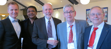 From left to right: Tor Levin Hofgaard, Norwegian Psychological Association president; Saths Cooper, IUPsyS president; Donald Bersoff, APA president; Robert Roe, EFPA president; and José Maria Pieró, IAAP president.