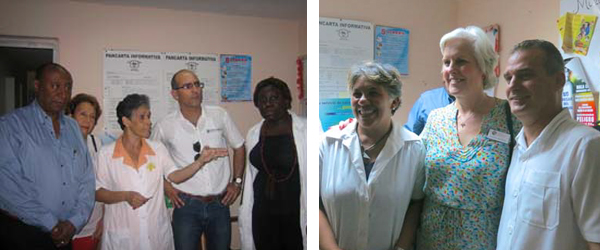 Left photo: Cuban colleagues in a community clinic. Right photo: APA Board member Susan McDaniel with a nurse (left) and family doctor (right) in a neighborhood Consultorio.