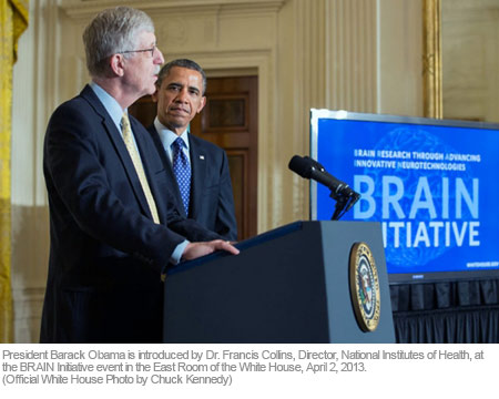 President Barack Obama is introduced by Dr. Francis Collins, Director, National Institutes of Health, at the BRAIN Initiative event in the East Room of the White House, April 2, 2013. (Official White House Photo by Chuck Kennedy)