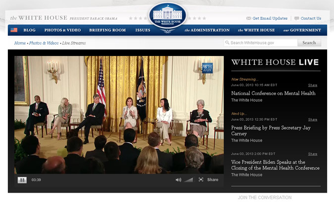 Monday's National Conference on Mental Health, shown here in a screen capture from its live broadcast on the Internet from the White House, included a panel featuring (left to right): Norman B. Anderson, PhD, CEO of APA; Glenn Close, actress and founder of Bring Change 2 Mind; Gordon H. Smith, president and CEO of the National Association of Broadcasters; Barbara Van Dahlen, PhD, founder of Give an Hour; Janelle Montano, speaker for Active Minds; and Health and Human Services Secretary Kathleen Sebelius.
