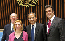 The leaders participating in the launch of the World Health Organization Mental Health Action Plan are, from left, Dr. Pierre Ritchie, Dr. Nadine J. Kaslow, Dr. Shekhar Saxena and Dr. Geoffrey Reed.