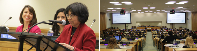 Left: Rashmi Jaipal, PhD speaking at Psychology Day at the UN. Right: The Seventh Annual Psychology Day at the United Nations focused on Psychology's Contributions to Sustainable Development: Challenges and Solutions for the Global Agenda.