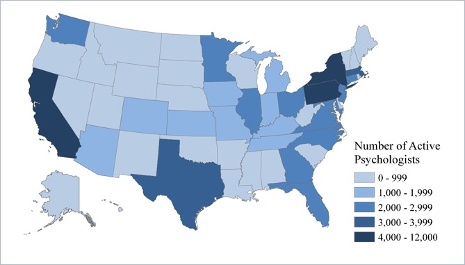 Distribution Of Active Psychologists By State 2013